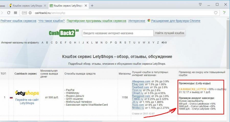 Letyshops возрат части средств от покупок в интернете